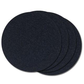 Filzuntersetzer rund 10 cm schwarz, 4 Stück